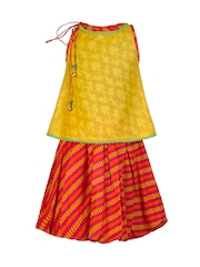 Twisha Girls Yellow & Orange Printed Clothing Set