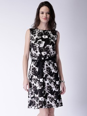 Moda Rapido Black & White Floral Print A-Line Dress