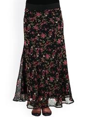 20Dresses Black Floral Print Polyester Maxi Skirt
