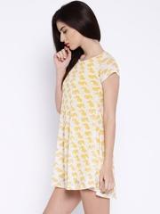 Global Desi White & Yellow Printed A-Line Dress