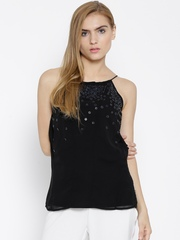 Wills Lifestyle Black Polyester Embellished Panelled Top