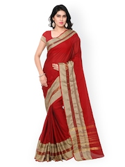 Inddus Red Cotton & Art Silk Traditional Saree