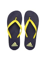 Adidas Unisex Yellow & Navy Adi Rib Flip-Flops