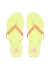 Adidas Women Coral Pink & Yellow Flip-Flops