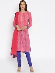 Biba Pink & Purple Printed Salwar Suit with Dupatta