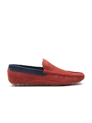 United Colors of Benetton Men Brick Red Suede Driving Shoes