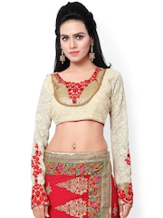 Hypnotex White Embroidered Georgette Saree Blouse