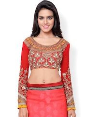 Hypnotex Red Art Silk & Georgette Embroidered Saree Blouse