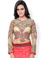 Hypnotex Beige Art Silk Embroidered Saree Blouse