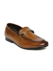 Franco Leone Men Brown Leather Horsebit Loafers