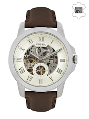 Fossil Men Cream-Coloured Skeleton Dial Automatic Watch ME3052