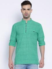 Svanik Green Striped Short Kurta