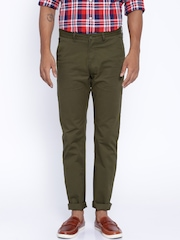 Allen Solly Olive Green Smart Slim Fit Chino Trousers