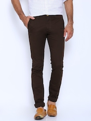 Allen Solly Brown Ultra Slim Casual Trousers