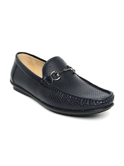 Tresmode Men Navy Patent Leather Horsebit Loafers