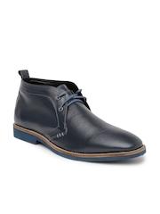 Bata Men Navy Leather Chukka Boots