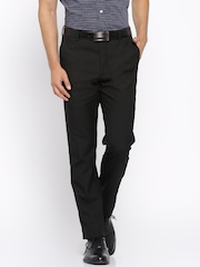 Arrow Black Tapered Fit Formal Trousers
