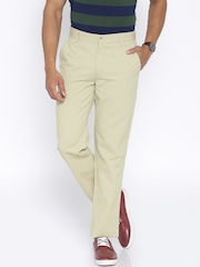 Peter England Beige Slim Fit Chino Trousers