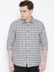 Blackberrys White Checked Linen Blend Smart Fit Casual Shirt