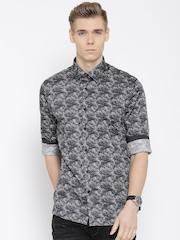 Blackberrys Grey Pixel Print Slim Casual Shirt