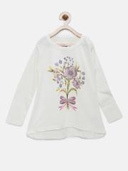YK Girls White Floral Print Round Neck T-Shirt