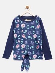 YK Girls Navy Blue Printed Round Neck T-Shirt