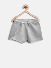 YK Girls Grey Melange Shorts