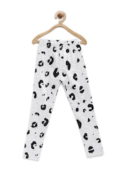 YK Girls Grey Melange & Black Printed Leggings