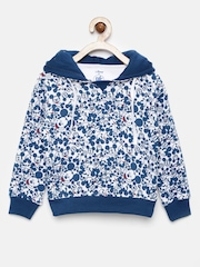 YK Disney Boys White & Blue Printed Hooded Sweatshirt