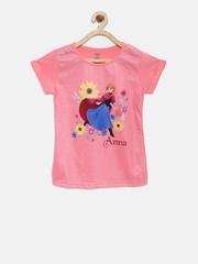 YK Disney Girls Pink Printed T-shirt