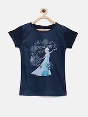 YK Disney Girls Navy Blue Printed Round Neck T-Shirt