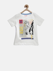 YK Marvel Boys White Spiderman Print T-shirt