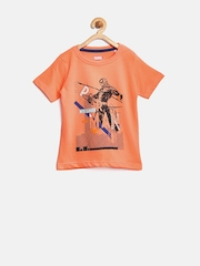 YK Marvel Boys Orange Spiderman Print T-shirt