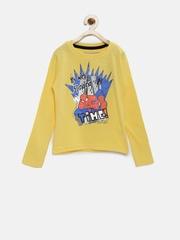 YK Marvel Boys Yellow Spiderman Print Round Neck T-Shirt