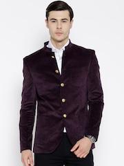 Blackberrys Purple Single-Breasted Slim Smart Casual Blazer