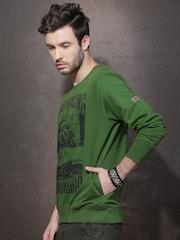 Roadster Green & Black Printed Sweatshirt
