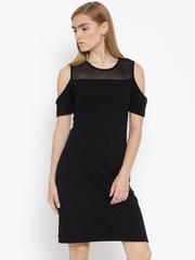 Vero Moda Black Self-Striped Cold Shoulder Sheath Dress