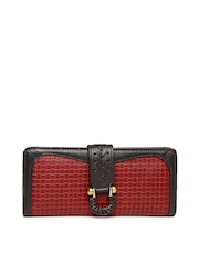 Hidesign Women Red Textured Leather Wallet