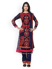 Satrani Navy Embroidered Semi-Stitched Dress Material