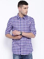 Premium by Jack & Jones Navy & White Checked Slim Casual Shirt