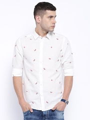 Originals by Jack & Jones Off-White Linen Printed Slim Fit Casual Shirt