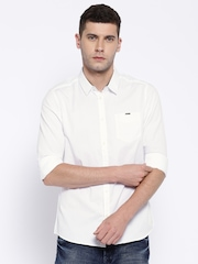 Being Human Clothing White Slim Fit Casual Shirt