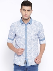 Being Human Clothing Blue Printed Slim Fit Casual Shirt