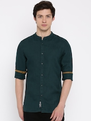 Being Human Clothing Green Linen Slim Fit Casual Shirt