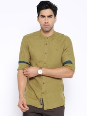 Being Human Clothing Olive Green Linen Slim Fit Casual Shirt