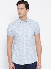 Being Human Blue Printed Slim Fit Casual Shirt