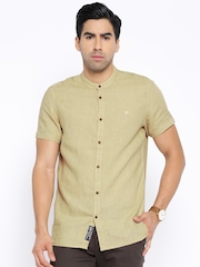 Being Human Clothing Beige Linen Slim Fit Casual Shirt