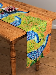 "SEJ by Nisha Gupta Brown & Blue Printed Rectangular 13"" x 48"" Cotton Table Runner"