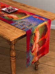 "SEJ by Nisha Gupta Red Printed Rectangular 13"" x 48"" Cotton Table Runner"