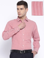 John Players Red & White Checked Slim Fit Formal Shirt